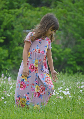 Girls Sunny Day Floral Cap Sleeve Maxi Dress Mauve CLEARANCE