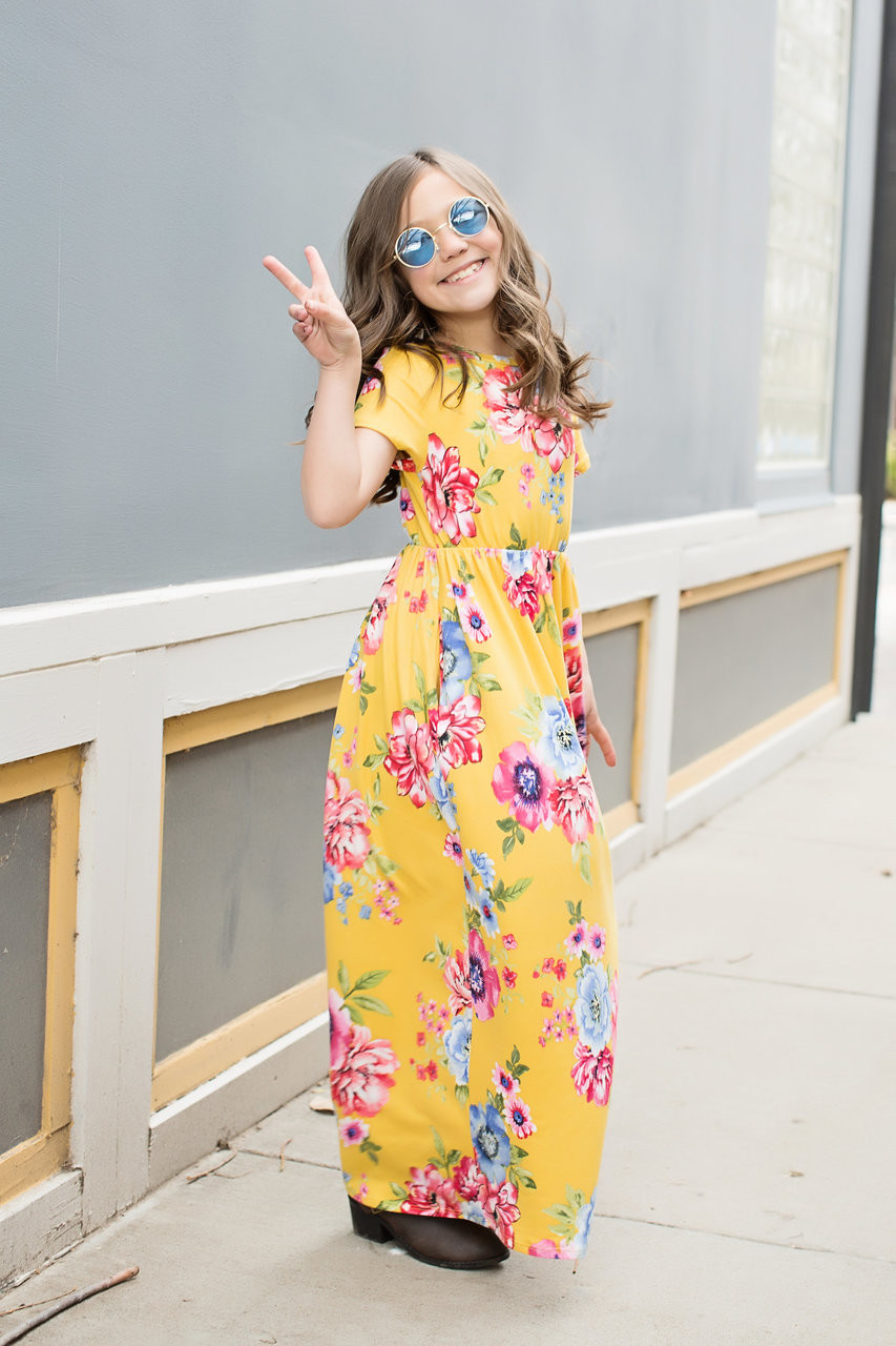 Girls Sunny Day Floral Cap Sleeve Maxi Dress Yellow Ryleigh Rue