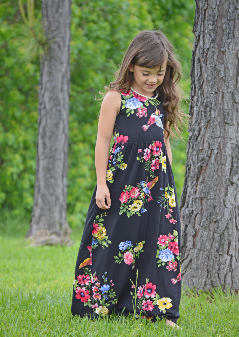 b6091b66c Girls Daydreaming Floral Maxi Tank Dress Black - Ryleigh Rue Clothing by MVB