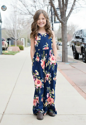 Girls All My Love Floral Tank Maxi Dress Navy