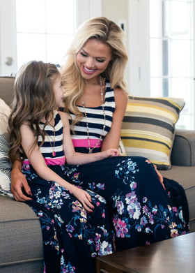 Mommy Made in Heaven Striped Floral Maxi Dress Navy