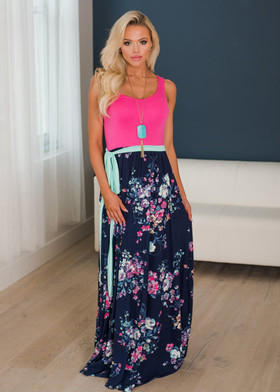 Mommy Enchanted Pink/Navy Floral Bottom Tank Maxi Tie Dress