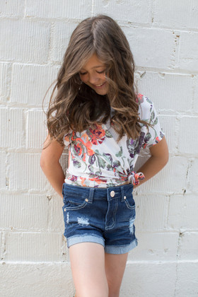 Girls Dream Come True Ivory Floral Cap Sleeve Top