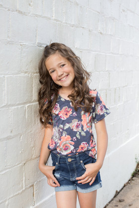 Girls Dream Come True Navy Floral Cap Sleeve Top