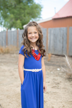 Girls Cap Sleeve Cinched Maxi Dress Royal Blue