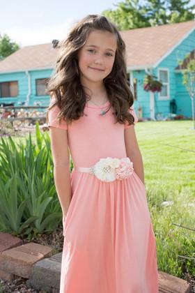 Girls Cap Sleeve Cinched Maxi Dress Blush