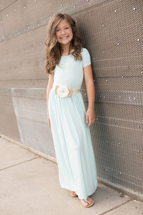 Girls Cap Sleeve Cinched Maxi Dress Mint