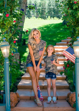 Girls Camo Cap Sleeve Top with Patriotic Pocket
