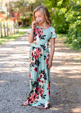 Girls Summer Sunset Floral Print Cap Sleeve Maxi Dress Mint