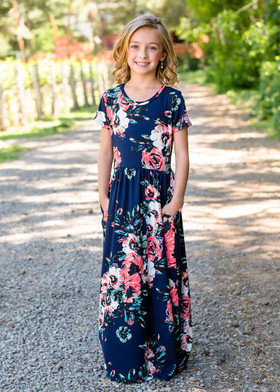 Girls Summer Sunset Floral Print Cap Sleeve Maxi Dress Navy