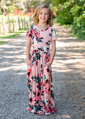 Girls Summer Sunset Floral Print Cap Sleeve Maxi Dress Blush