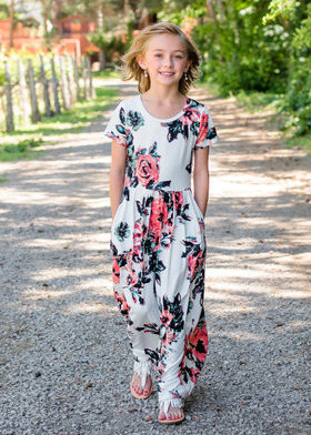 Girls Summer Sunset Floral Print Cap Sleeve Maxi Dress Ivory