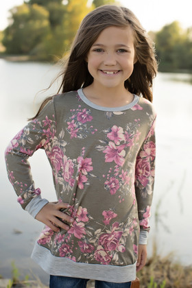 Girls So Sweet Floral Tunic Olive CLEARANCE