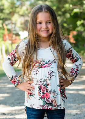 Girls So In Love With Floral High Low Ruffle Top Cream