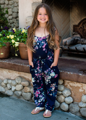 Kids Beautiful Floral Spaghetti Tie Romper Navy