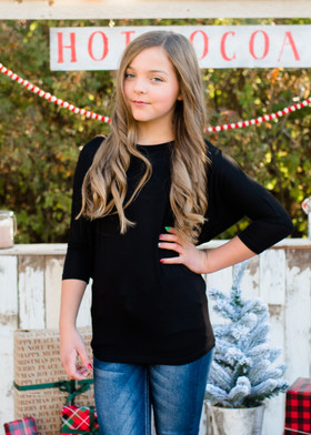 (Cyber Monday) Girls Soft Dolman Top Black