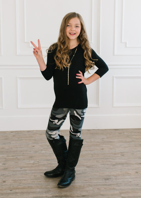 (Cyber Monday) Girls Slim Fitting Camo Leggings Gray/White