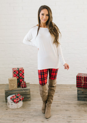(Cyber Monday) Mommy Holiday Plaid Leggings Red