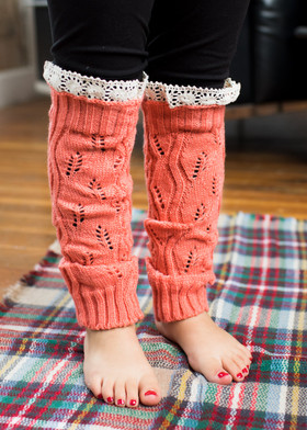 Girls Coral Leg Warmers CLEARANCE