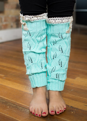 Girls Mint Leg Warmers CLEARANCE