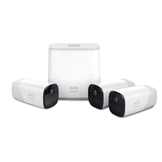 eufy T8804CD2 1080p Full-HD Wire-Free Security 3 Camera Set w/ Facial Recognition + AI Homebase Unit