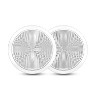 "Fusion FM-F65RW 6.5"" 120W White Round Grille Flush Mount Marine Speakers"