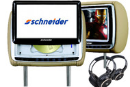 SHNEIDER 9066 DUAL 9 INCH SLIDE-UP HEADREST DVD PLAYERS