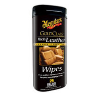 Meguiar's G10900 Gold Class Rich Leather Cleaner/Conditioner Wipes - 25 Pieces
