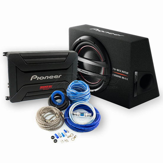 """PIONEER BASS PACK TS-WX305B 12"""" SUBWOOFER + GM-A5602 900W AMP  WITH BONUS WIRING KIT"""