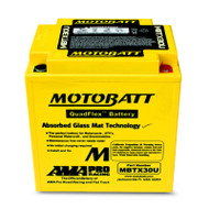 Motobatt MBTX30U 12V 32Ah 385CCA AGM Motorcycle Battery with Quadflex Technology
