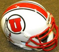 Utah Utes White with Stripe Mini Authentic Schutt Helmet