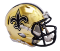 "2018 ""CHROME"" Edition NEW ORLEANS SAINTS NFL Riddell SPEED Mini Football Helmet"