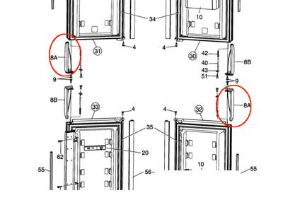 Dometic Refrigerator Door Handle Lr Amp Ul 3851057020