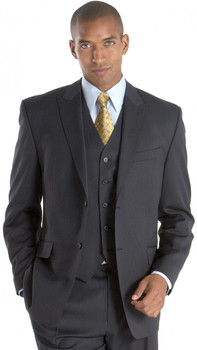 Men's Sean John Vested Pinstripe Suit - Black