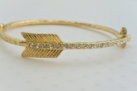 Key Bangle Bracelet Gold Tone