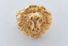 Lion Head Ring Gold Tone