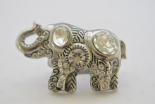 Elephant Ring with Rhinestone Embellishment and Detailed Craftsmanship