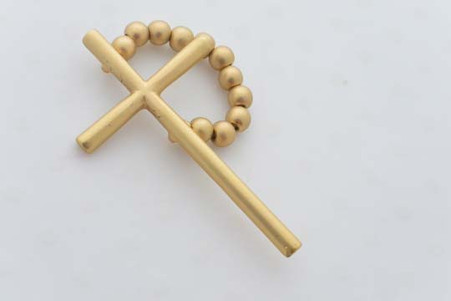 Cross Ring Gold Tone