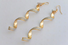 Spiral Diamond Cut Earrings Gold Tone
