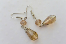 Tear Drop Crystal Earrings Champagne
