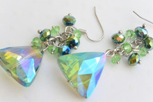 Triangle Cluster Swarovski Elements Earrings Green