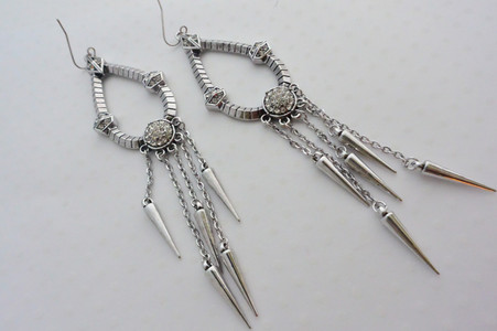Cleopatra Earrings Antique Silver Tone Finish With Rhinestone Embellished middle