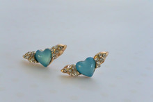 Angel Heart Earrings with Rhinestones on the Wings and an Iridescent Blue Heart Center