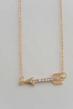 Arrow Necklace Gold Tone