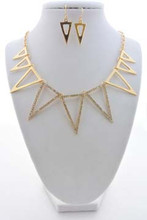 Aztec Set Gold Tone Necklace and Earrings