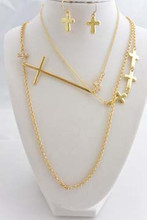 Cross Long Necklace Set Gold Tone