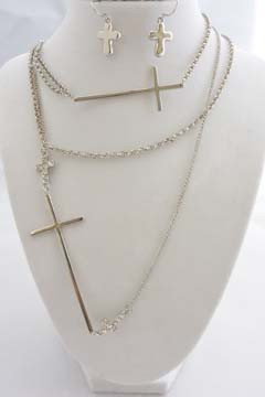 Cross Long Necklace Set Silver Tone