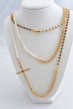 "The 60"" Cross, Grey Rhinestones, and Pearl Necklace"