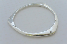 Triangle Bangle Bracelet with Scattered Rhinestones Silver Tone