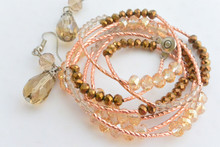 Swarovski Crystals Elements Wrap Around Bracelet in Rose Gold and Earrings Set in Champagne